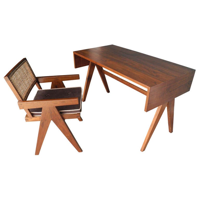 Pierre jeanneret teak desk and arm chair college of