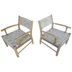 1950s Scandinavian Danish Modern Oak Rope Low Lounge Chairs