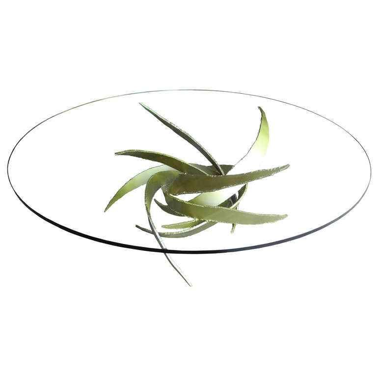 Modern Brutalist Gold Cut Steel and Glass Round Coffee Table by Silas Seandel