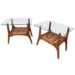Organically Sculpted Walnut Mid-Century Modern Night Stands or Side Tables