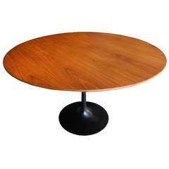 Round Walnut Saarinen Table for Knoll