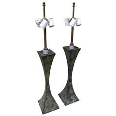 Modern Brutalist Patinated Bronze Table Lamps by Stewart Ross James for Hansen