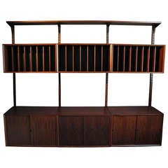 Danish Modern Rosewood Record Wall Unit by Poul Cadovious for Cado