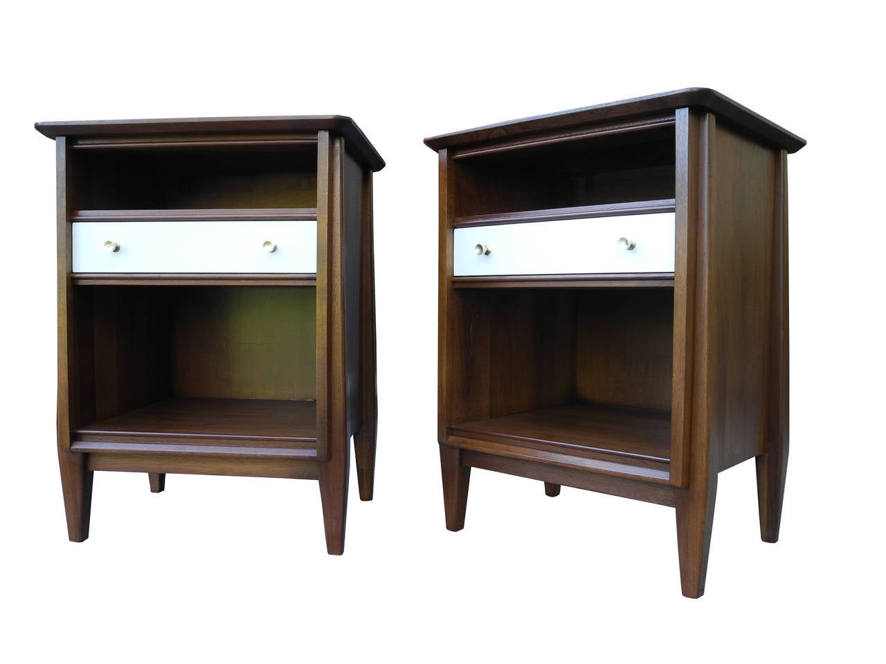 Mid century modern solid walnut nightstands or bedside for Modern bedside tables nightstands