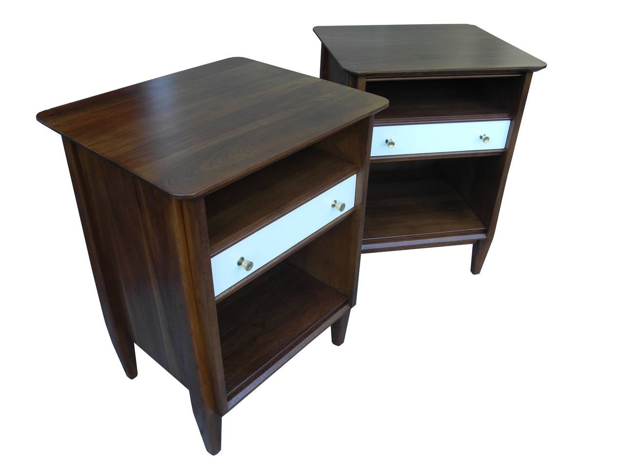 Mid century modern solid walnut nightstands or bedside for Nightstands and bedside tables