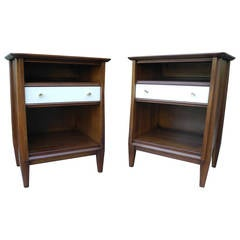 Mid-Century Modern Solid Walnut Nightstands or Bedside Tables with Drawer