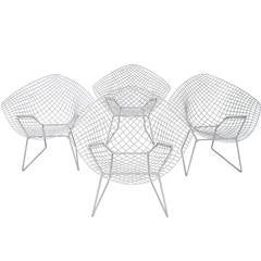 Set of Four Modern Harry Bertoia Metal Diamond Armchairs for Knoll