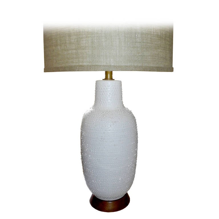Mid Century Modern White Textured Ceramic Lamp By Design Technics, 1950s  For Sale