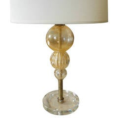 Vintage Glass Lamp with Gold Flakes in the Traditional Venini Style