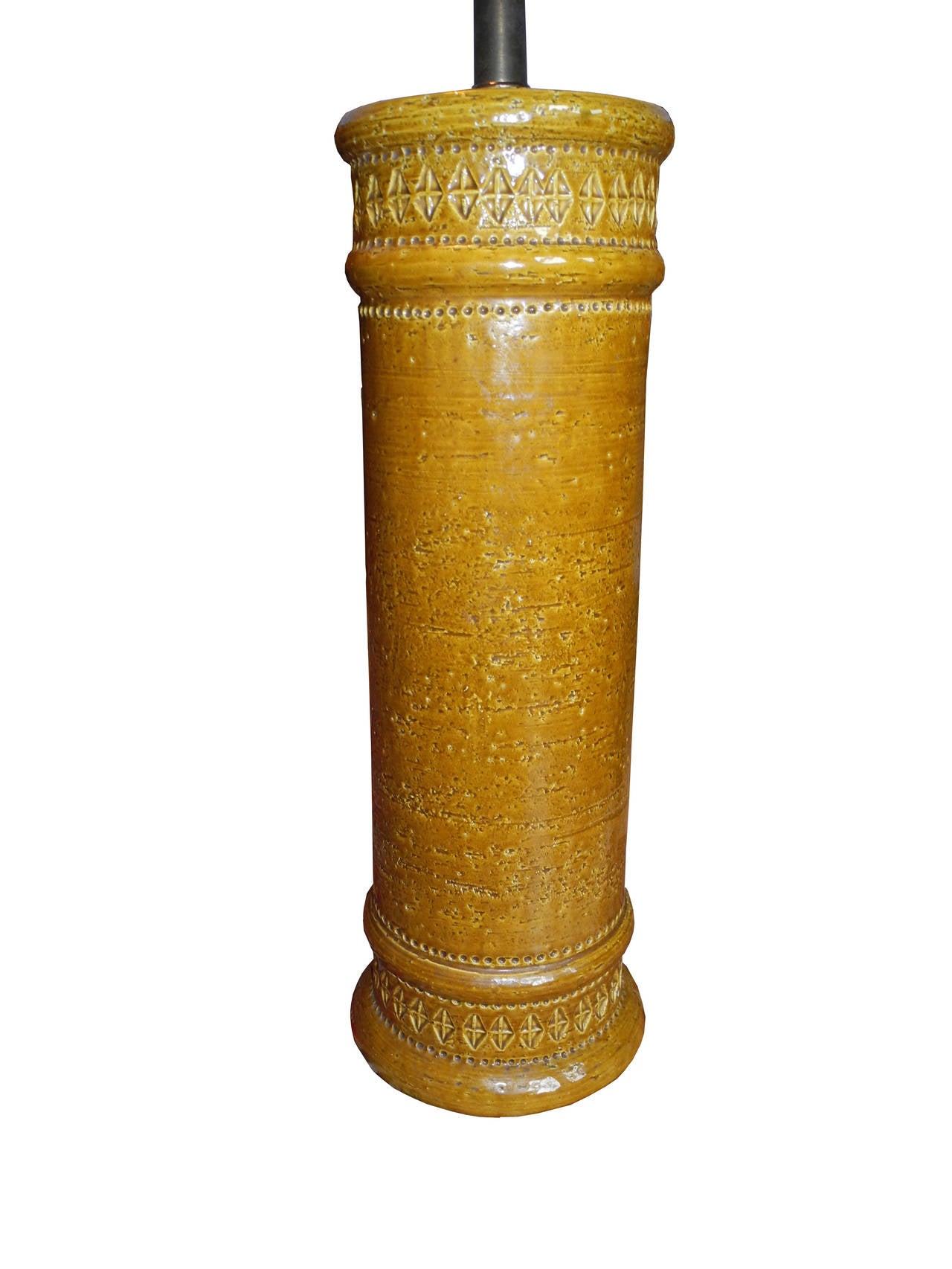 Mid Century Modern Italian Bitossi Ceramic Table Lamp In Mustard 2