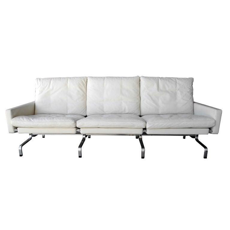 PK31 White Leather Sofa by Poul Kjaerholm for Fritz Hansen