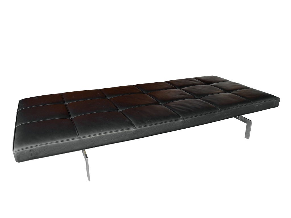 Black leather daybed bench by poul kjaerholm for fritz Daybed bench