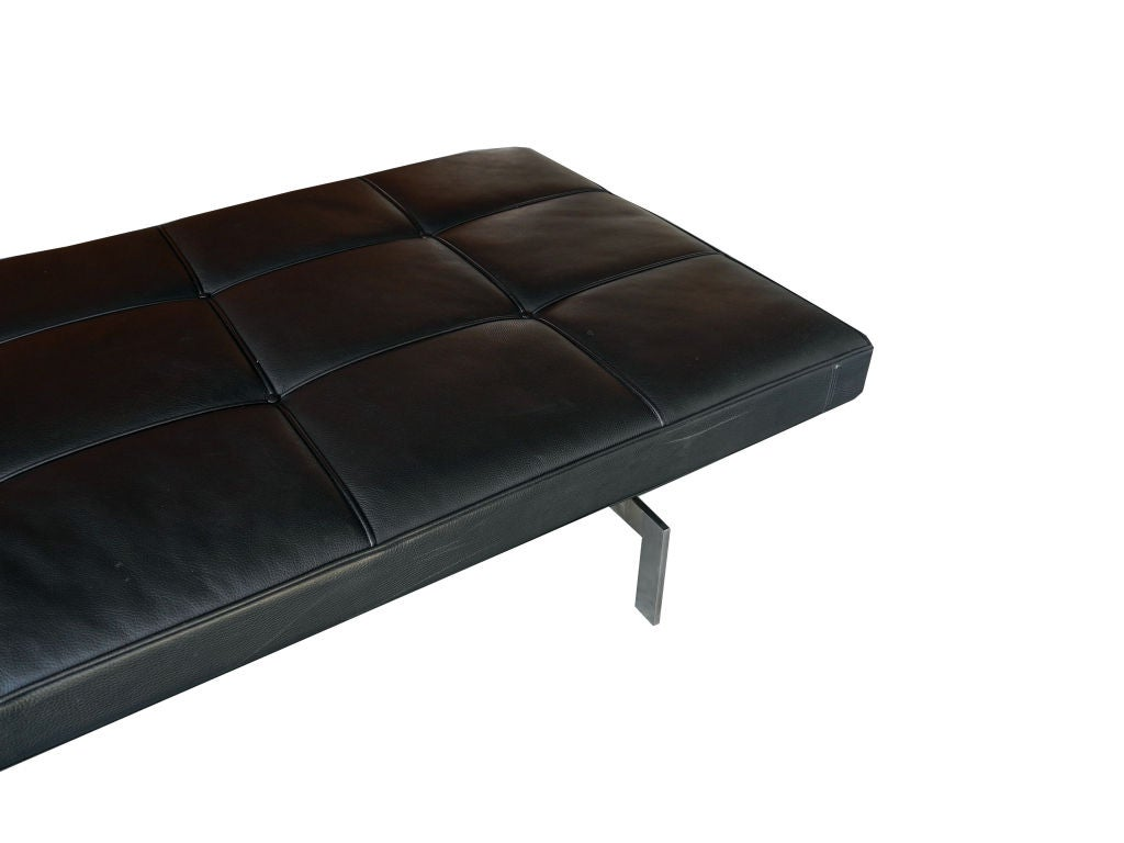 black leather daybed bench by poul kjaerholm for fritz