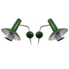 Danish Modern Pair of Spun Aluminium Louis Poulsen Sconces in Green