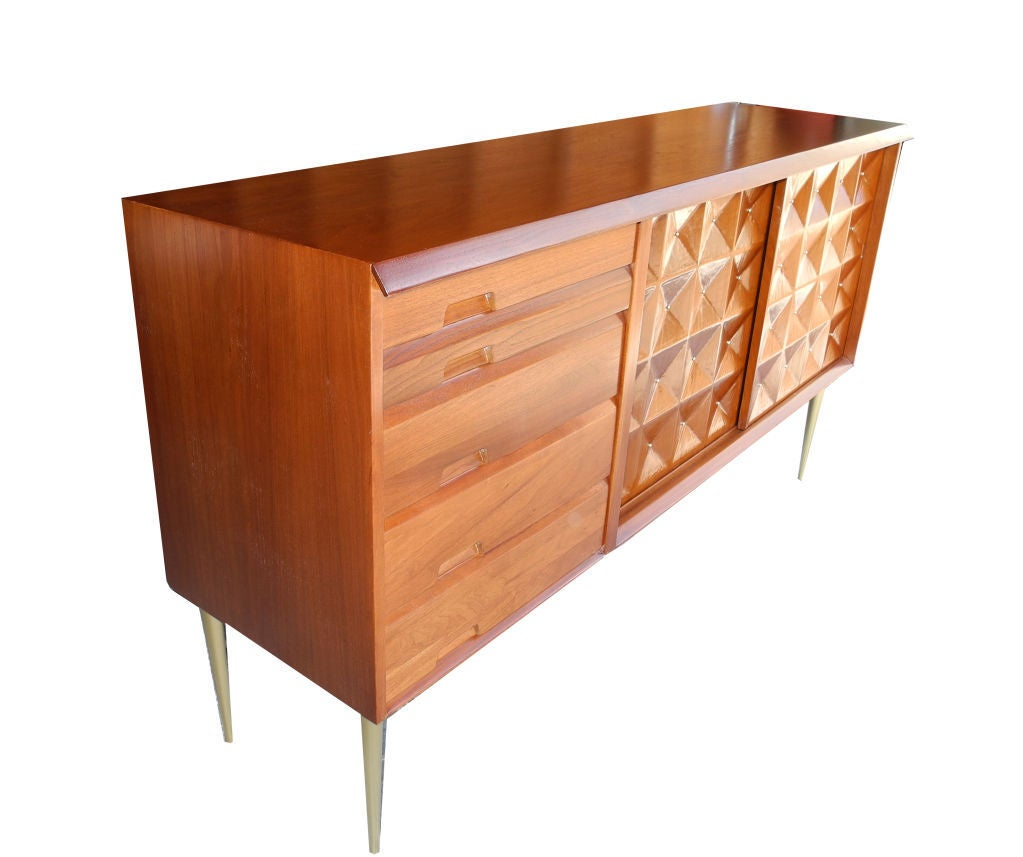 Mid-Century Modern Sideboard/Credenza/Bar in Butternut by Salvatore  Bevilacqua 2 - Mid-Century Modern Sideboard/Credenza/Bar In Butternut By
