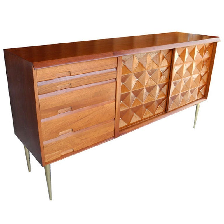 Mid Century Modern Sideboard Credenza Bar In Butternut By Salvatore Bevilacqua For Sale At 1stdibs