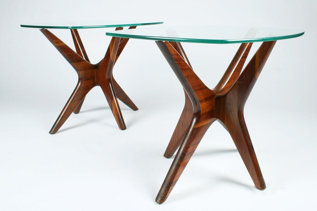 Pair of walnut jacks lamp tables by adrian pearsall for sale at a mod pair of lamp tables each with interlocking boomerang form walnut bases supporting asymmetrically flared aloadofball Gallery