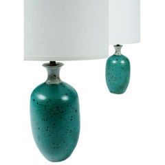 Pair of Robins Egg Blue Ceramic Table Lamps by Gerry Williams