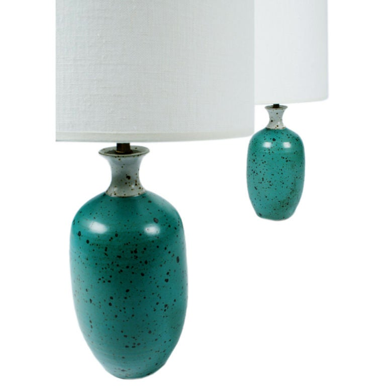 Pair Of Robins Egg Blue Ceramic Table Lamps By Gerry Williams 1