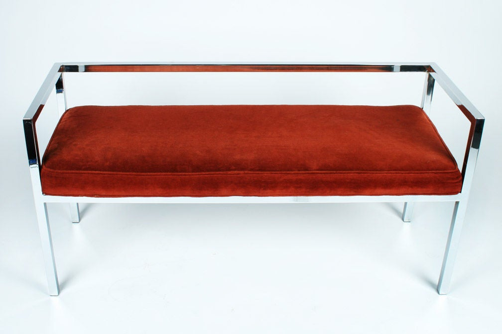 American Square Chromed Steel Tube Frame Entry Bench by Swaim Designs For Sale