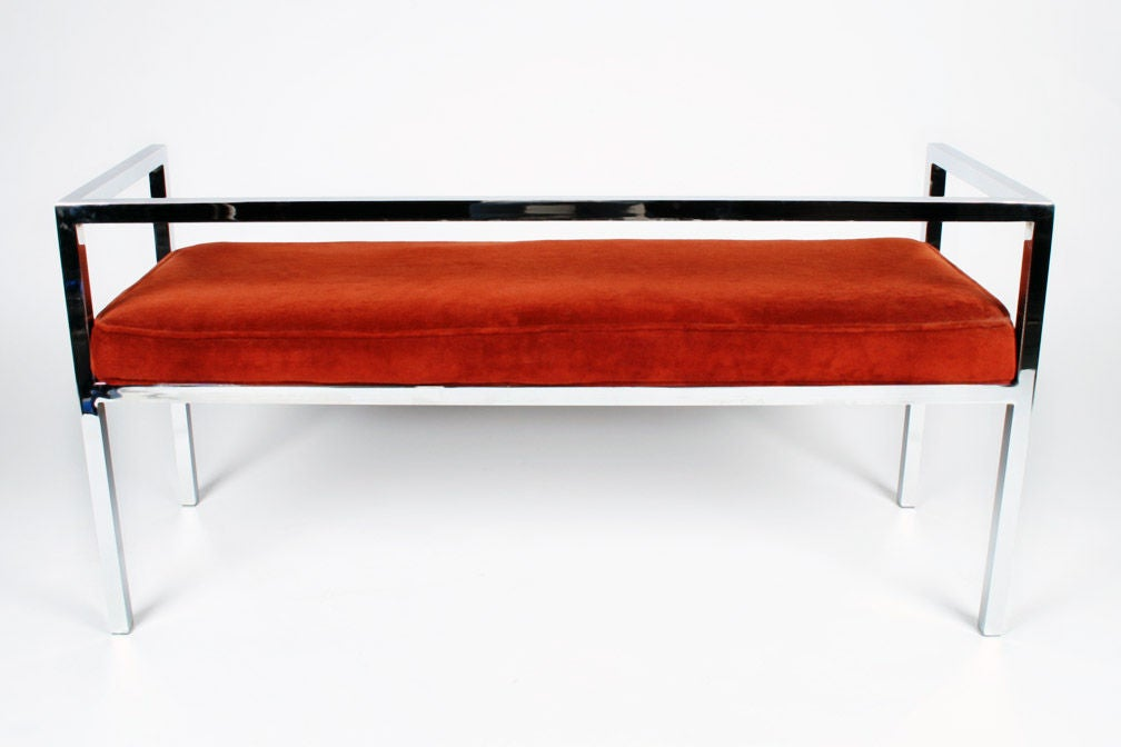 Square Chromed Steel Tube Frame Entry Bench by Swaim Designs In Excellent Condition For Sale In New York, NY
