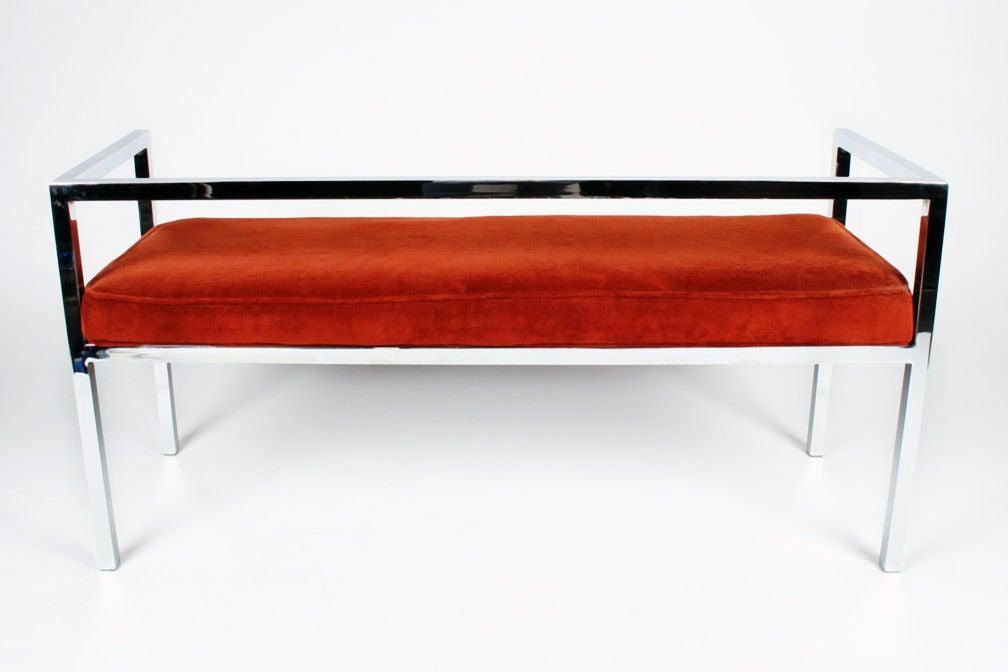 Square Chromed Steel Tube Frame Entry Bench By Swaim Designs At 1stdibs