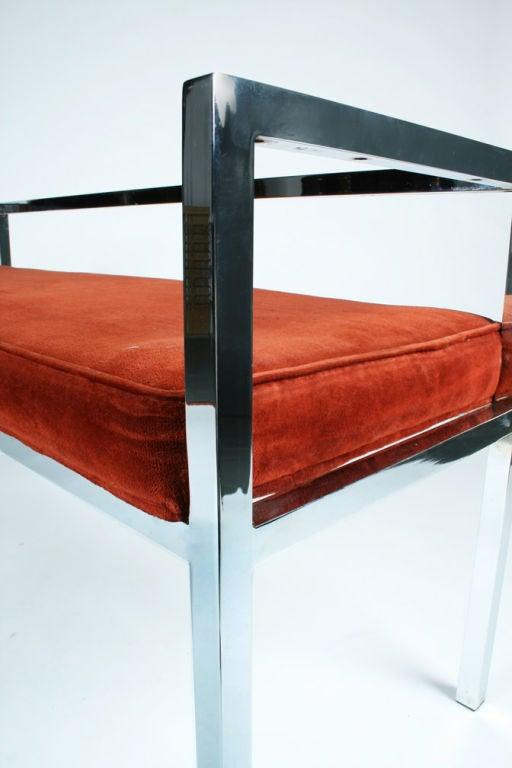 Square Chromed Steel Tube Frame Entry Bench by Swaim Designs For Sale 1