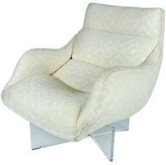 Pair Lucite Cross Base Swivel Lounge Chairs by Vladimir Kagan