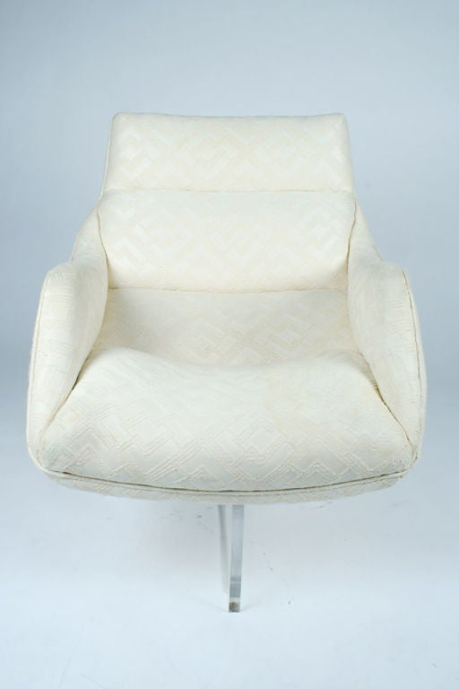 Pair Lucite Cross Base Swivel Lounge Chairs By Vladimir