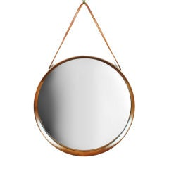 Scandinavian Knife Edge Walnut Frame Hanging Mirror