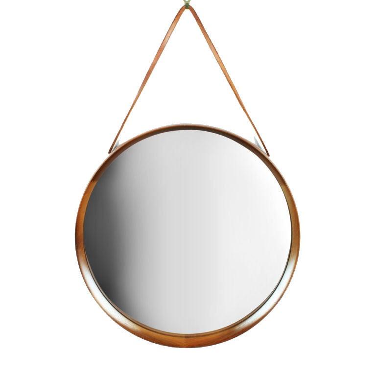 Scandinavian Knife Edge Walnut Frame Hanging Mirror At 1stdibs