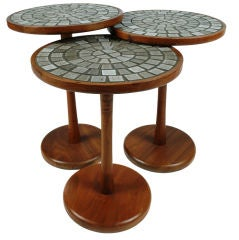 Set of Three Tile Top Occasional Tables by Gordon Martz