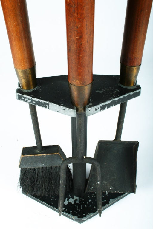 Long Walnut Handled Firetools by Seymor Manufacturing Company In Good Condition For Sale In New York, NY