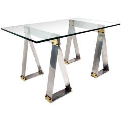 French Polished Aluminum and Brass Saw Horse Base Writing Table