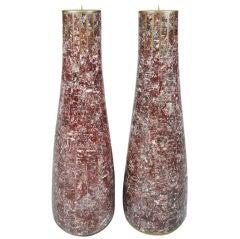 Pair of Aubergine Stone Veneer Candlesticks by Maitland-Smith