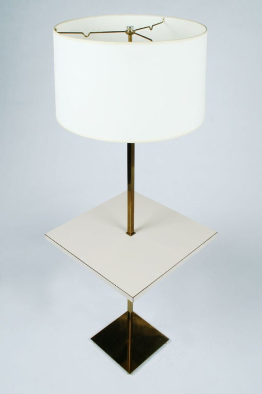 Mid-Century Modern Polished Brass Table Floor Lamp by Stewart Ross James for Hansen Lamps For Sale