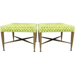 Pair of Square Upholstered Benches by Edward Wormley for Dunbar