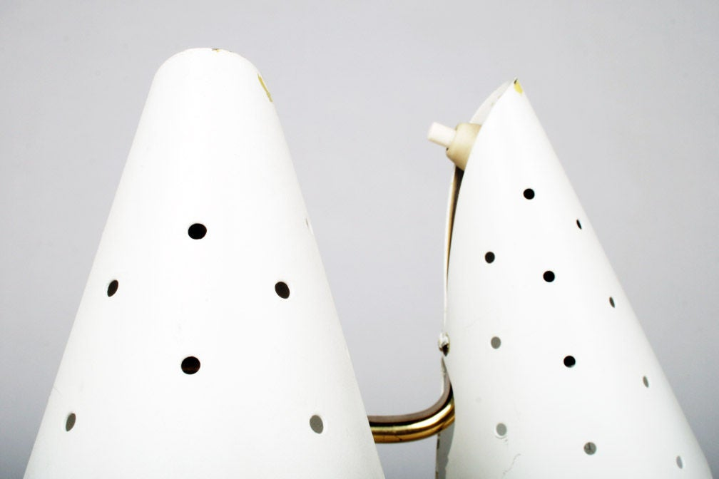 Steel Pair of Cone Bedside Table Lamps by Gino Sarfatti For Sale