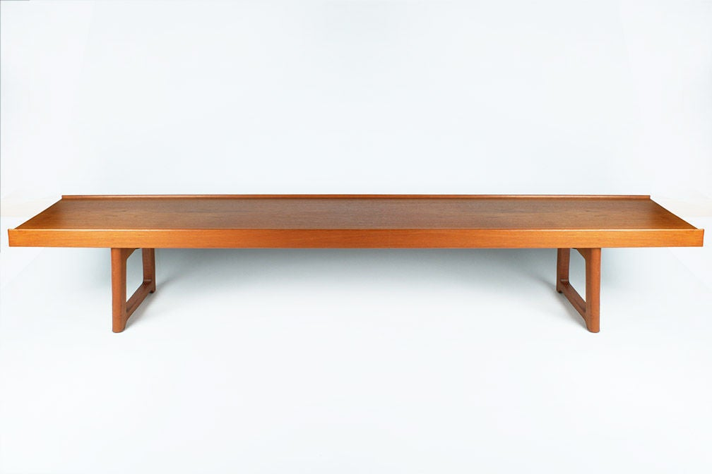 Scandinavian Modern Long Low Teak Plank Bench 'Krobo' by Torbjörn Afdal for Bruksbo For Sale