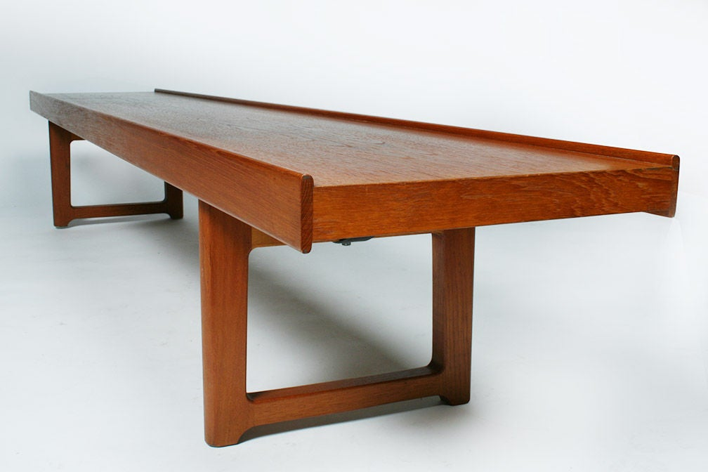 Norwegian Long Low Teak Plank Bench 'Krobo' by Torbjörn Afdal for Bruksbo For Sale