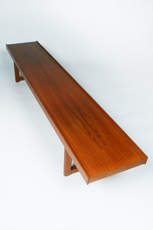 Mid-20th Century Long Low Teak Plank Bench 'Krobo' by Torbjörn Afdal for Bruksbo For Sale