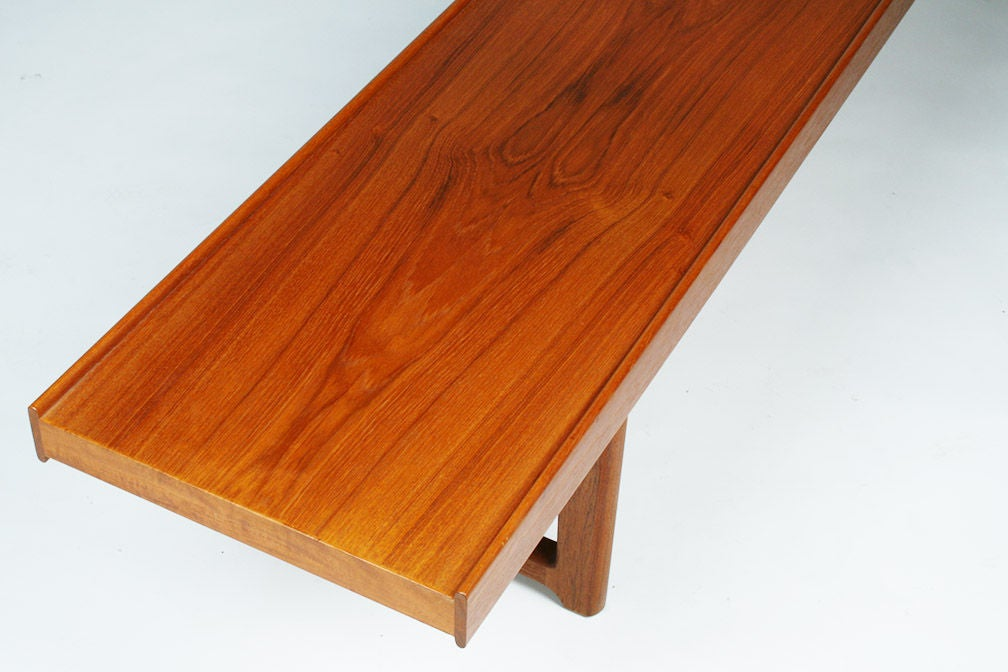 Long Low Teak Plank Bench 'Krobo' by Torbjörn Afdal for Bruksbo For Sale 2