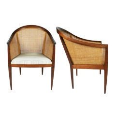 Pair of Cane Backed Armchairs by Kipp Stewart for Directional