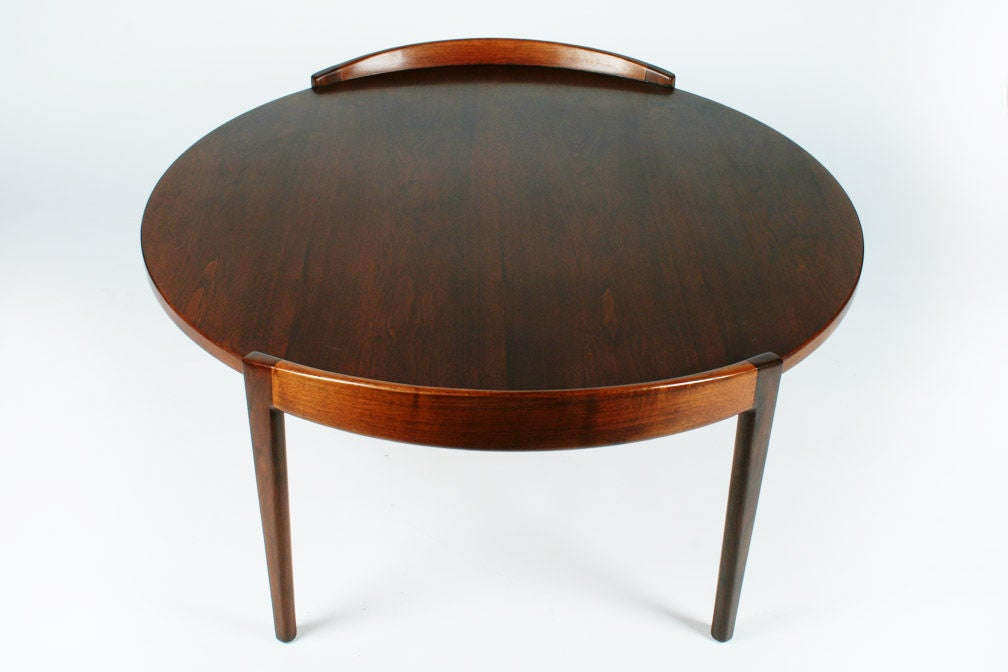 Round Walnut Cocktail Table By Jens Risom At 1stdibs