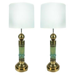 Pair of Faux Bamboo Brass Table Lamps by Chapman