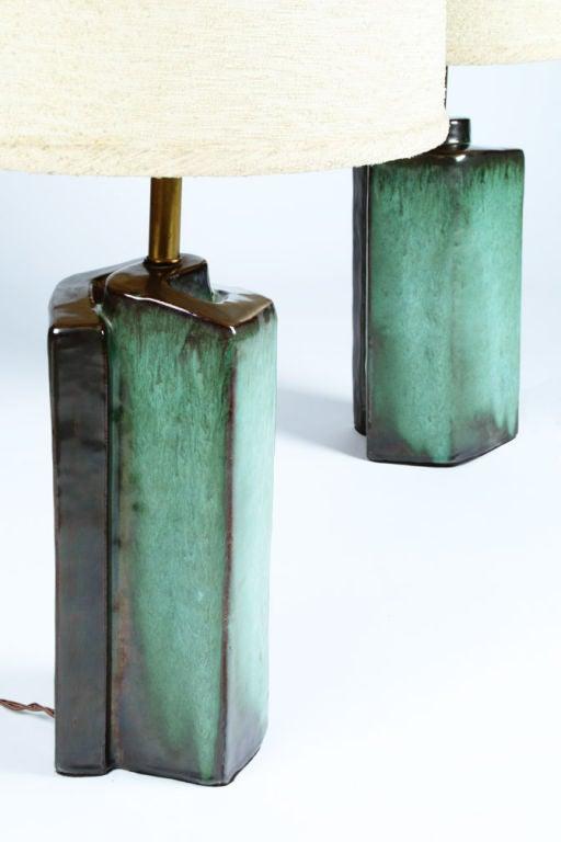 Cubist Spiral Ceramic Lamps By Marianna Von Allesch At 1stdibs