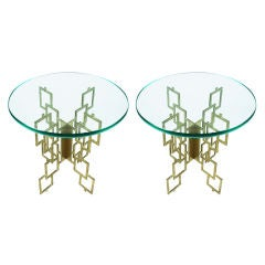 Pair of Interlocking Pierced Brass X-Base Tables
