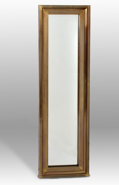 Tall thin brass frame entry mirror by mastercraft for sale for Skinny wall mirror