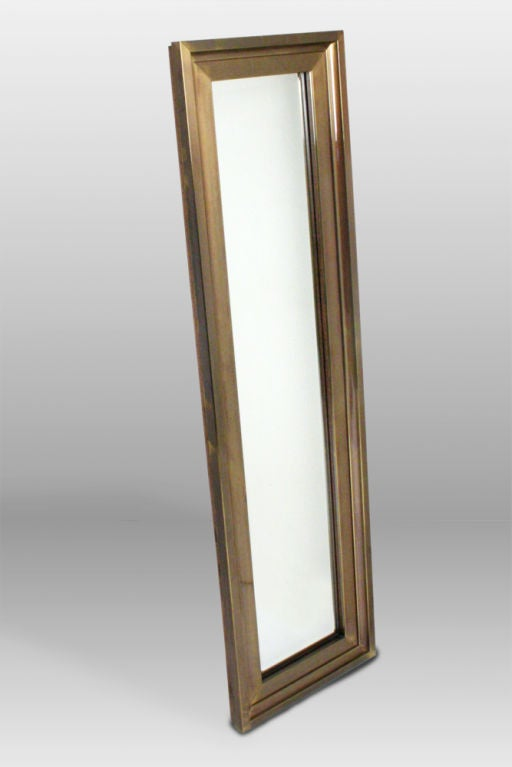 Tall Thin Brass Frame Entry Mirror By Mastercraft At 1stdibs