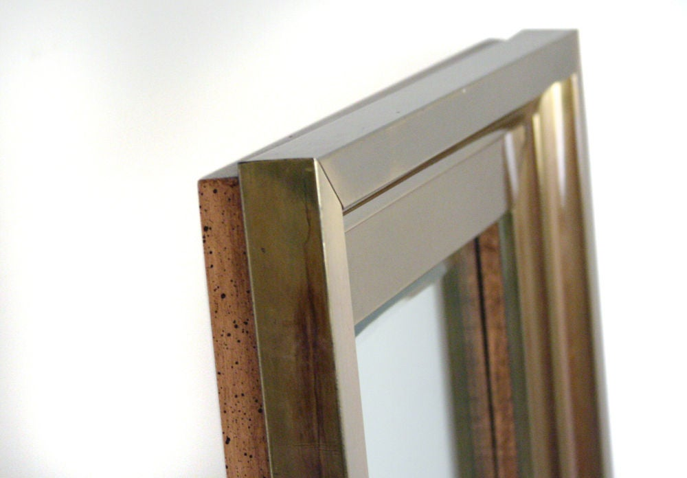 Tall Thin Brass Frame Entry Mirror By Mastercraft For Sale